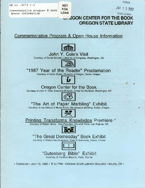 "This archived document is maintained by the Oregon State Library as part of the Oregon Documents Depository Program.  It is for informational purposes and may not be suitable for legal purposes., ""Thursday, July 10, 1986 ..."", Title from cover, Mode of access: Internet from the Oregon Government Publications Collection."