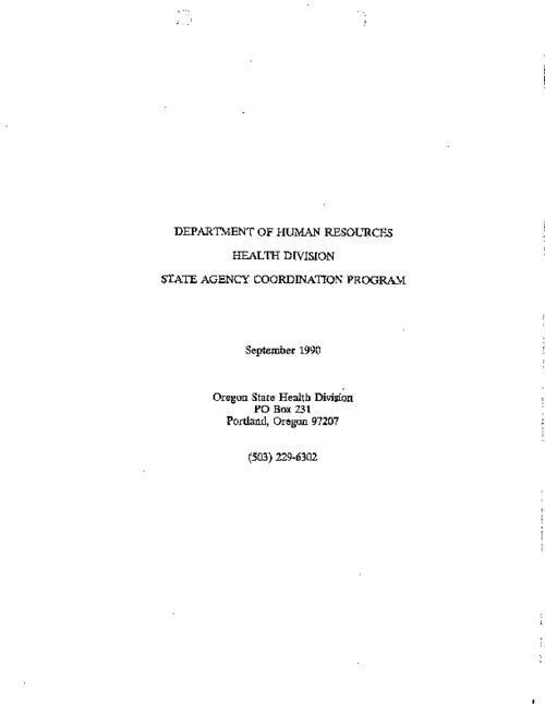 "This archived document is maintained by the Oregon State Library as part of the Oregon Documents Depository Program.  It is for informational purposes and may not be suitable for legal purposes., ""September 1990."", Title from PDF caption (viewed on Jan. 10, 2011), Mode of access: Internet from the Oregon Government Publications Collection."