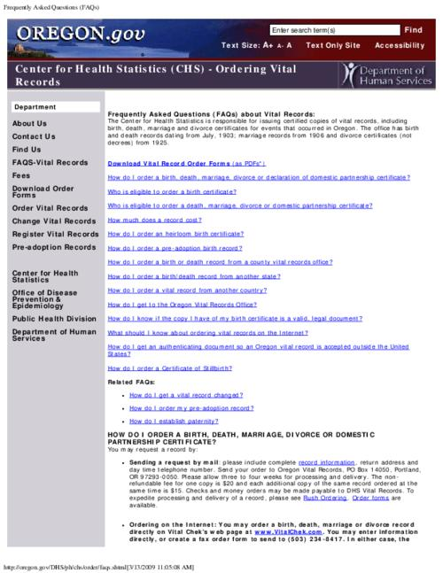 "This archived document is maintained by the Oregon State Library as part of the Oregon Documents Depository Program.  It is for informational purposes and may not be suitable for legal purposes., Title from PDF caption (viewed on Mar. 29, 2012), Converted from HTML, ""Page updated: February 17, 2009""--P. [5], Mode of access: Internet from the Oregon Government Publications Collection."