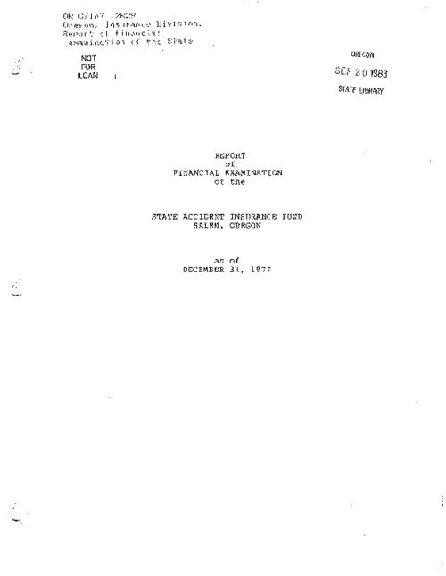 "This archived document is maintained by the Oregon State Library as part of the Oregon Documents Depository Program.  It is for informational purposes and may not be suitable for legal purposes., ""... 15th day of May, 1979""--P. [69], Includes ""Comments on examination report (12/31/77)"" (4 leaves), Mode of access: Internet from the Oregon Government Publications Collection."