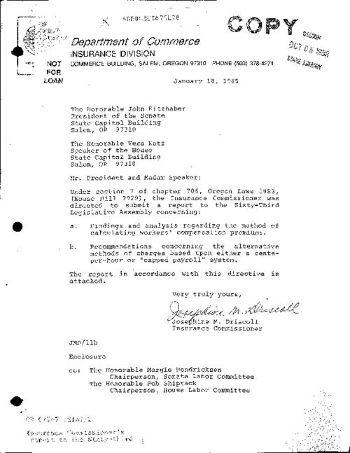"This archived document is maintained by the Oregon State Library as part of the Oregon Documents Depository Program.  It is for informational purposes and may not be suitable for legal purposes., ""January 18, 1985""--Cover letter, Includes bibliographical references, Mode of access: Internet from the Oregon Government Publications Collection."