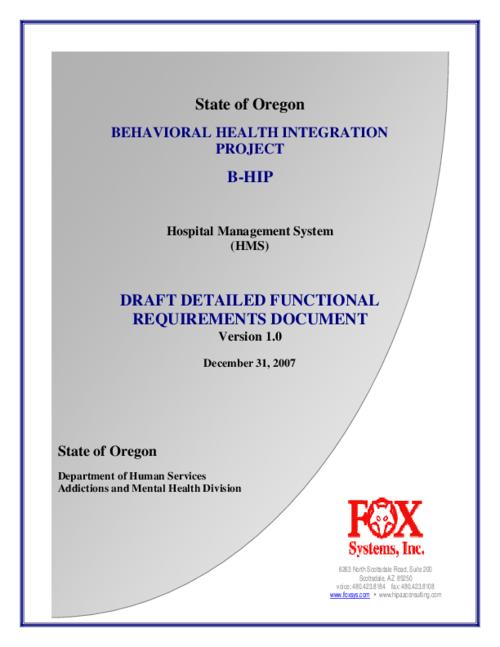 Behavioral Health Integration Project BHip Hospital Management