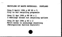 Recycling of Waste Materials. Portland - Red Cross. Portland. Blood Bank