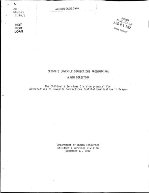 "This archived document is maintained by the Oregon State Library as part of the Oregon Documents Depository Program.  It is for informational purposes and may not be suitable for legal purposes., ""December 17, 1982."", Title from cover, Mode of access: Internet from the Oregon Government Publications Collection."