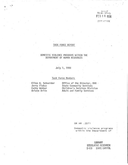 "This archived document is maintained by the Oregon State Library as part of the Oregon Documents Depository Program.  It is for informational purposes and may not be suitable for legal purposes., ""July 1, 1980."", At head of title: Task Force report, Title from cover, Includes bibliographical references (p. [15]), Mode of access: Internet from the Oregon Government Publications Collection."