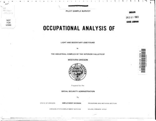 "This archived document is maintained by the Oregon State Library as part of the Oregon Documents Depository Program.  It is for informational purposes and may not be suitable for legal purposes., ""July 31, 1970""--Prelim, ""Pilot project for Social Security Administration: the industrial complex of the interior valleys of western Oregon""--Prelim, Title from cover, Mode of access: Internet from the Oregon Government Publications Collection."