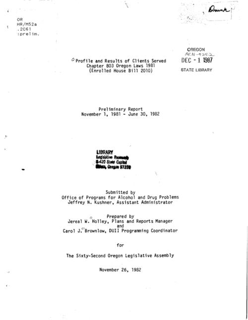 "This archived document is maintained by the Oregon State Library as part of the Oregon Documents Depository Program.  It is for informational purposes and may not be suitable for legal purposes., ""November 26, 1982."", Title from cover, Mode of access: Internet from the Oregon Government Publications Collection."