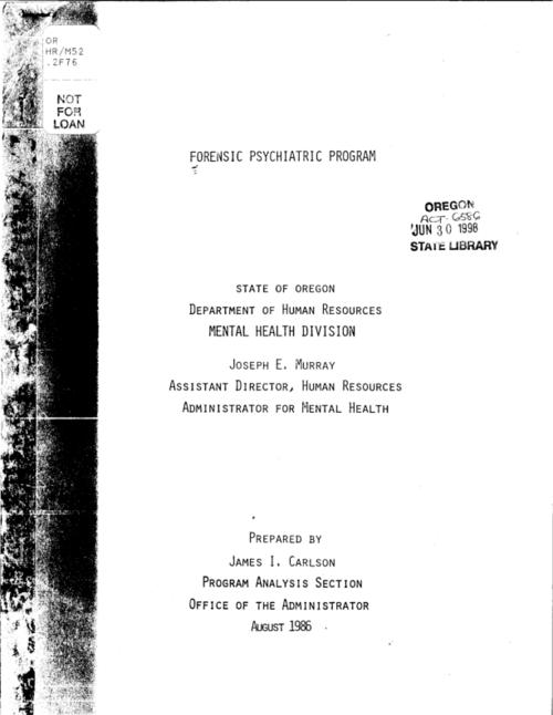 "This archived document is maintained by the Oregon State Library as part of the Oregon Documents Depository Program.  It is for informational purposes and may not be suitable for legal purposes., ""August 1986."", Title from cover, Mode of access: Internet from the Oregon Government Publications Collection."
