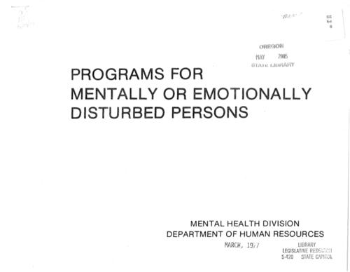 "This archived document is maintained by the Oregon State Library as part of the Oregon Documents Depository Program.  It is for informational purposes and may not be suitable for legal purposes., Title from cover., ""Purpose of presentation to describe community and State Hospital services for mentally or emotionally disturbed person of all ages in Oregon""--Page G1., Mode of access: Internet from the Oregon Government Publications Collection., Text in English."