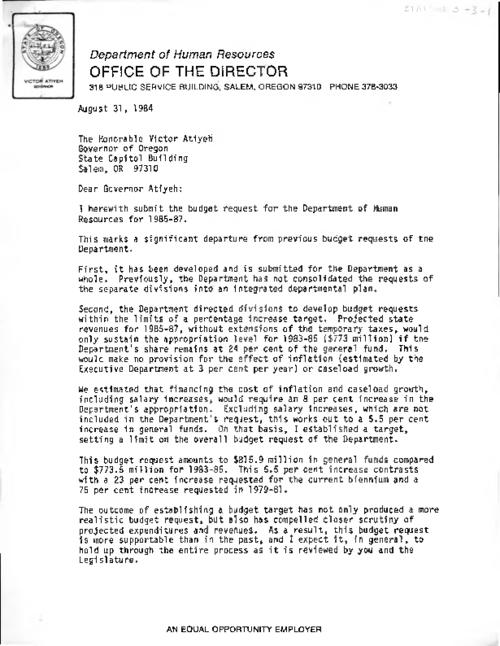 This archived document is maintained by the Oregon State Library as part of the Oregon Documents Depository Program.  It is for informational purposes and may not be suitable for legal purposes., Title from caption., Includes letter of transmittal from Leo T. Hegstrom (Director of Department of Human Resources) to Governor Atiyeh., Mode of access: Internet from the Oregon Government Publications Collection., Text in English.