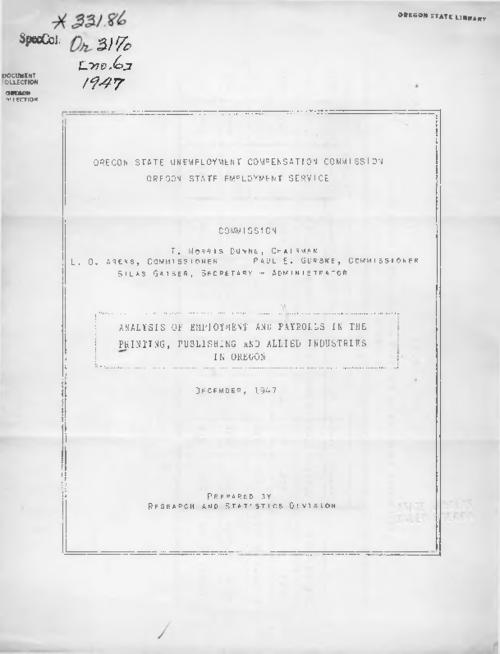 "This archived document is maintained by the Oregon State Library as part of the Oregon Documents Depository Program.  It is for informational purposes and may not be suitable for legal purposes., Cover title, Prepared by the Research and Statistics Division, ""December 1947."", Mode of access: Internet from the Oregon Government Publications Collection."