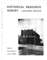 Historical resource survey of Lakeview, Oregon, Historical resource survey:...