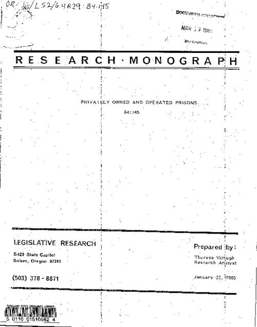 "This archived document is maintained by the Oregon State Library as part of the Oregon Documents Depository Program.  It is for informational purposes and may not be suitable for legal purposes., ""January 22, 1985."", Title from cover, Includes bibliographical references, Mode of access: Internet from the Oregon Government Publications Collection."