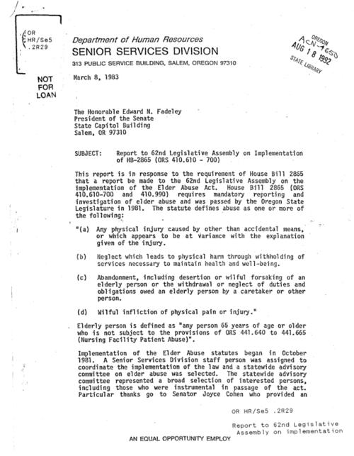 "This archived document is maintained by the Oregon State Library as part of the Oregon Documents Depository Program.  It is for informational purposes and may not be suitable for legal purposes., ""March 8, 1983."", Title from caption, Mode of access: Internet from the Oregon Government Publications Collection."