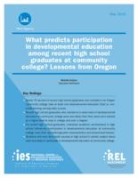 What predicts participation in developmental education among recent high school...