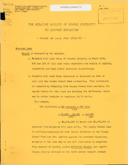 "This archived document is maintained by the Oregon State Library as part of the Oregon Documents Depository Program.  It is for informational purposes and may not be suitable for legal purposes., ""June 1956."", Series supplied by cataloger from shelflist record, Title from caption, Mode of access: Internet from the Oregon Government Publications Collection."