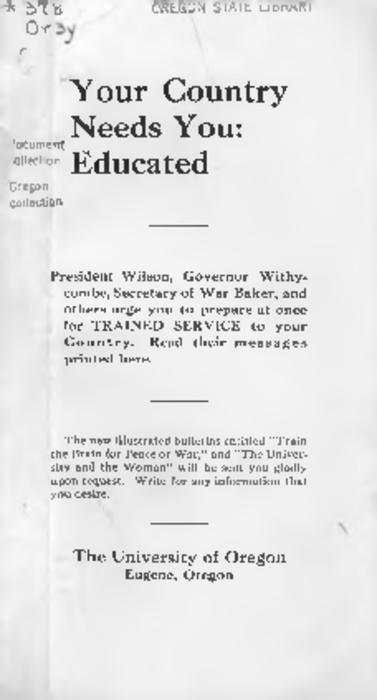 "This archived document is maintained by the Oregon State Library as part of the Oregon Documents Depository Program.  It is for informational purposes and may not be suitable for legal purposes., ""President Wilson, Governor Withycombe, Secretary of War Baker, and others urge you to prepare at once for trained service to your country. Read their messages printed here."", Mode of access: Internet from the Oregon Government Publications Collection."