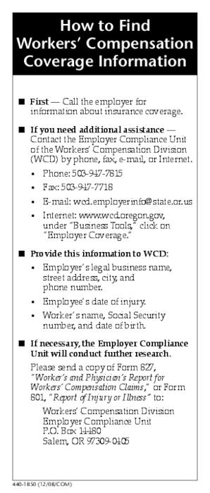 How To Find Workers Compensation Coverage Information  Oregon