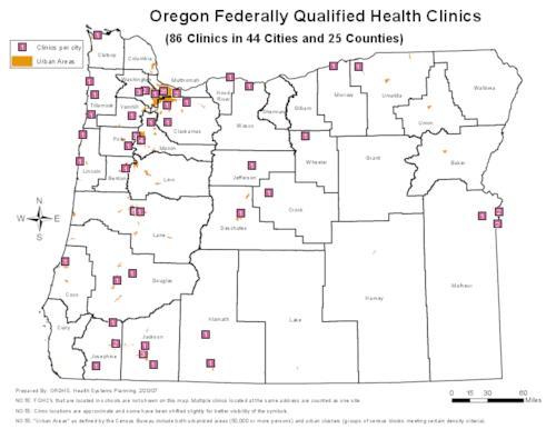 Oregon Federally Qualified Health Clinics Clinics In Cities - Oregon state map with cities