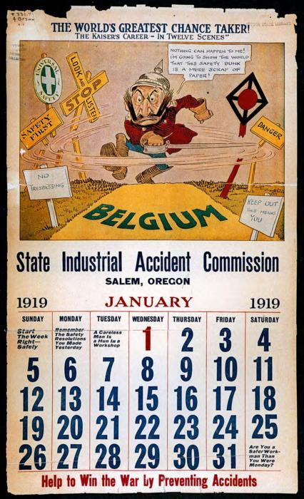 A 1919 calendar with illustrations depicting industrial accidents featuring Kaiser Wilhelm, This archived document is maintained by the Oregon State Library as part of the Oregon Documents Depository Program.  It is for informational purposes and may not be suitable for legal purposes., Also available online at the Oregon Documents Repository, Calendar was disassembled, repaired, and stabilized in 2007. Pages were encased with 2-ply rag mat in custom mylar sleeves