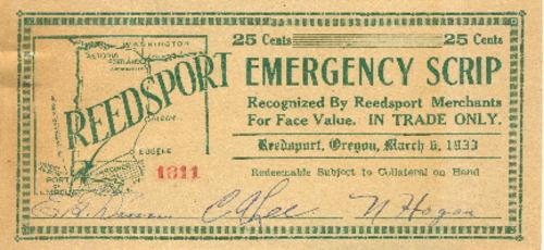 "This archived document is maintained by the Oregon State Library as part of the Oregon Documents Depository Program.  It is for informational purposes and may not be suitable for legal purposes., Scrip, ""Recognized By Reedsport Merchants For Face Value. IN TRADE ONLY."", ""March 6, 1933."", Also available online at the Oregon Documents Repository"