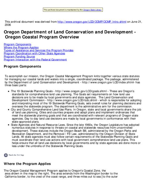 "This archived document is maintained by the Oregon State Library as part of the Oregon Documents Depository Program.  It is for informational purposes and may not be suitable for legal purposes., Title from Web page (viewed on June 28, 2006), ""Last modified: 2005-10-10"" -- File metadata, Mode of access: Internet from the Oregon Government Publications Collection."
