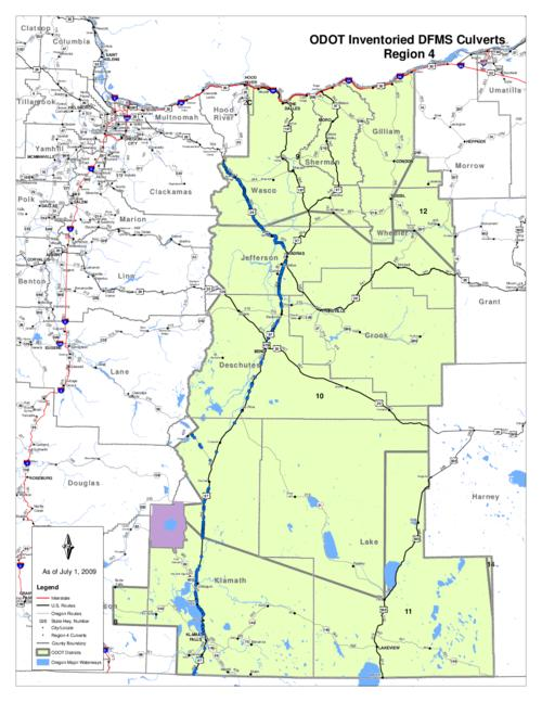 ODOT inventoried DFMS culverts - Region 4 Map | Oregon State Library