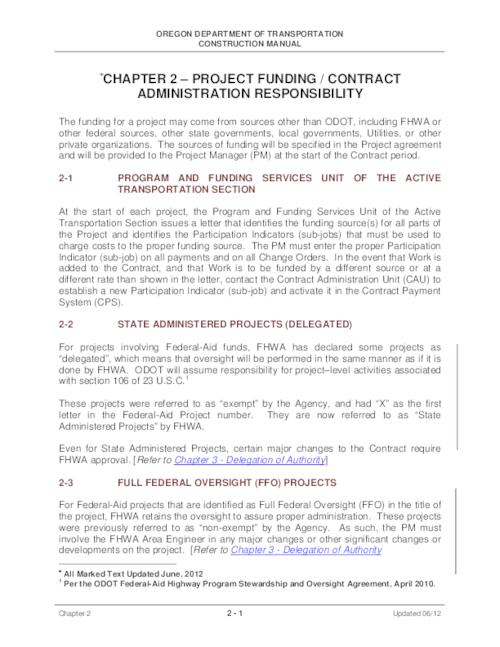 construction manual march 2014 chapter 2 project funding rh digital osl state or us Contract Administration Procedures Manual ladotd construction contract administration manual