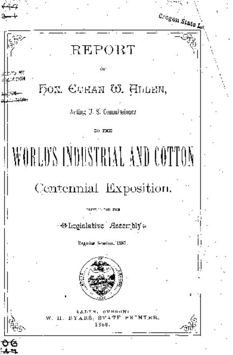 "This archived document is maintained by the Oregon State Library as part of the Oregon Documents Depository Program.  It is for informational purposes and may not be suitable for legal purposes., ""Printed for the Legislative Assembly, Regular Session, 1887."", Mode of access: Internet from the Oregon Government Publications Collection."