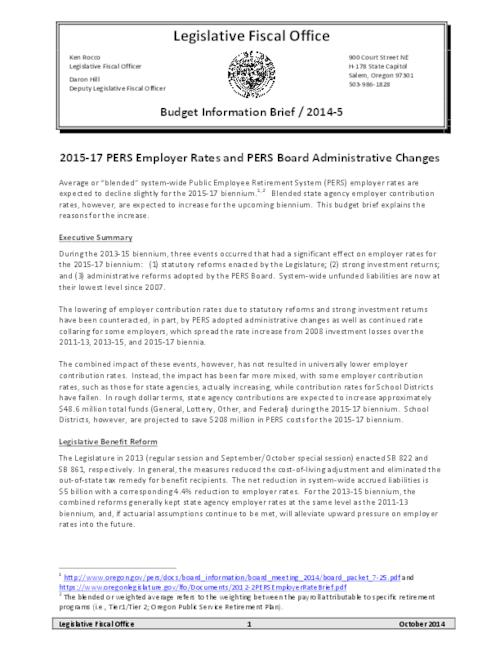 This archived document is maintained by the Oregon State Library as part of the Oregon Documents Depository Program.  It is for informational purposes and may not be suitable for legal purposes., Title from PDF caption (viewed on October 6, 2015)., This budget brief explains the reasons for the increase to blended state agency employer contribution rates for the upcoming biennium., Includes bibliographic references., Mode of access: Internet from the Oregon Government Publications Collection., Text in English.