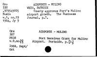 Airports. Mulino - Alaska Pipeline