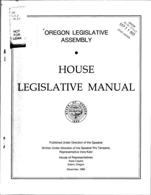 "This archived document is maintained by the Oregon State Library as part of the Oregon Documents Depository Program.  It is for informational purposes and may not be suitable for legal purposes., ""December, 1982."", ""Published under the direction of the Speaker, written under the direction of the Speaker Pro Tempore, Representative Vera Katz."", Mode of access: Internet from the Oregon Government Publications Collection."