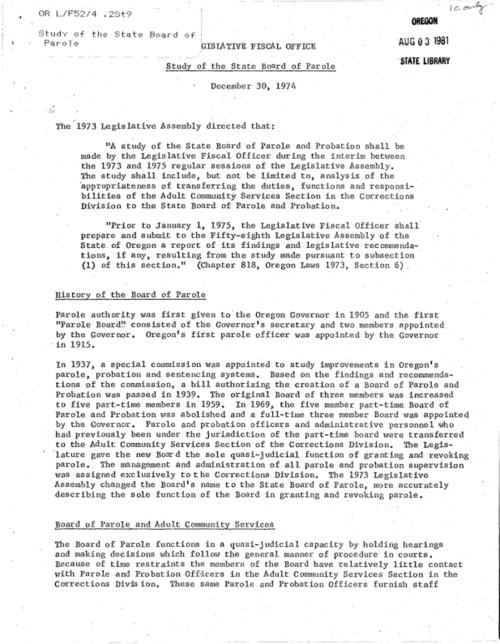 "This archived document is maintained by the Oregon State Library as part of the Oregon Documents Depository Program.  It is for informational purposes and may not be suitable for legal purposes., ""December 30, 1974."", Title from caption, Mode of access: Internet from the Oregon Government Publications Collection."