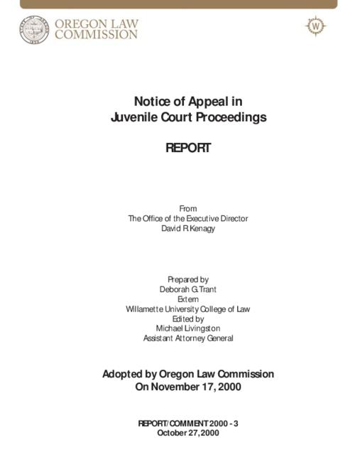 "This archived document is maintained by the Oregon State Library as part of the Oregon Documents Depository Program.  It is for informational purposes and may not be suitable for legal purposes., Title from PDF caption (viewed on Oct. 8, 2010), ""Adopted by Oregon Law Commission On November 17, 2000."", ""October 27, 2000."", Mode of access: Internet from the Oregon Government Publications Collection."
