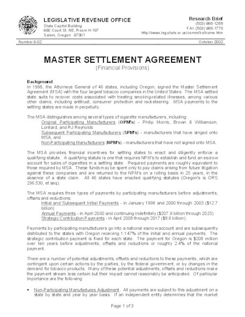 Master Settlement Agreement Financial Provisions  Oregon State