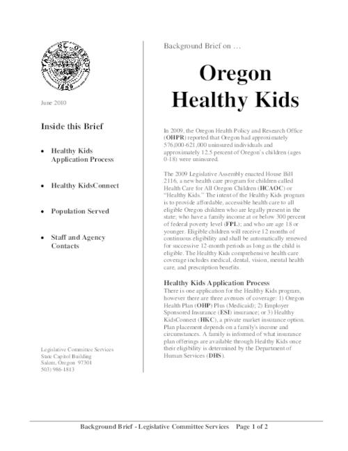 "This archived document is maintained by the Oregon State Library as part of the Oregon Documents Depository Program.  It is for informational purposes and may not be suitable for legal purposes., Title from PDF caption (viewed on Oct. 20, 2011), ""June 2010."", Mode of access: Internet from the Oregon Government Publications Collection."