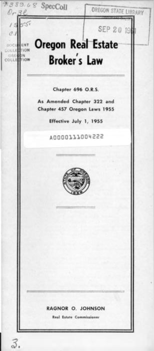 "This archived document is maintained by the Oregon State Library as part of the Oregon Documents Depository Program.  It is for informational purposes and may not be suitable for legal purposes., Title from PDF cover (viewed on June 10, 2016)., ""Effective July 1, 1955."", Mode of access: Internet from the Oregon Government Publications Collection., Text in English."