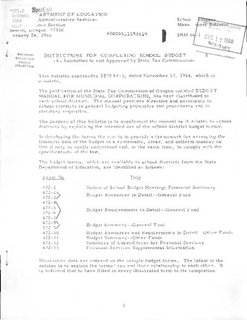 This archived document is maintained by the Oregon State Library as part of the Oregon Documents Depository Program.  It is for informational purposes and may not be suitable for legal purposes., Title from PDF caption (viewed on June 8, 2016)., Mode of access: Internet from the Oregon Government Publications Collection., Text in English.