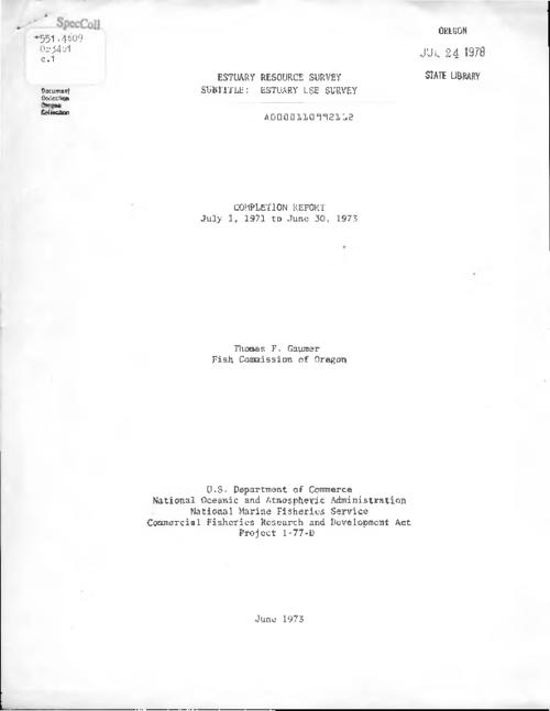 "This archived document is maintained by the Oregon State Library as part of the Oregon Documents Depository Program.  It is for informational purposes and may not be suitable for legal purposes., Title from PDF cover (viewed on June 10, 2016)., ""U.S. Department of Commerce, National Oceanic and Atmospheric Administration, National Marine Fisheries Service, Commercial Fisheries Research and Development Act, Project 1-77-D."", Mode of access: Internet from the Oregon Government Publications Collection., Text in English."