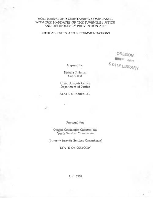 This archived document is maintained by the Oregon State Library as part of the Oregon Documents Depository Program.  It is for informational purposes and may not be suitable for legal purposes., Title from PDF cover (viewed on July 18, 2016)., Mode of access: Internet from the Oregon Government Publications Collection., Text in English.