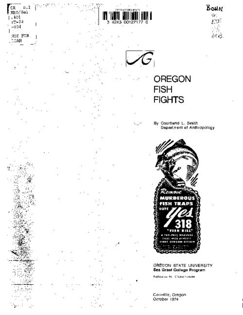 This archived document is maintained by the Oregon State Library as part of the Oregon Documents Depository Program.  It is for informational purposes and may not be suitable for legal purposes., Title from PDF cover (viewed on July 27, 2016)., Includes bibliographic references (pages 14-15)., This publication is based in part on research carried out as part of the Oregon State University Sea Grant Program, cooperatively supported by the National Oceanic and Atmospheric Administration, U.S. Department of Commerce, by the State of Oregon, and by the people of Oregon. Special acknowledgement is made to the Oregon Historical Society, Oregon State Library, and the Kerr Library at Oregon State University for archives used in this publication, Mode of access: Internet from the Oregon Government Publications Collection., Text in English.