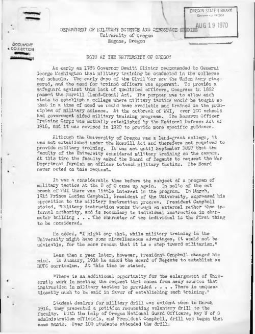 "This archived document is maintained by the Oregon State Library as part of the Oregon Documents Depository Program.  It is for informational purposes and may not be suitable for legal purposes., Title from PDF caption (viewed on July 1, 2016)., ""The history related in this paper was taken from a dissertation by William Ernest Cunliffe entitled ""A history of the Reserve Officers Training Corps at the Unviversity of Oregon 1919 to 1969""--Page 13., Mode of access: Internet from the Oregon Government Publications Collection., Text in English."