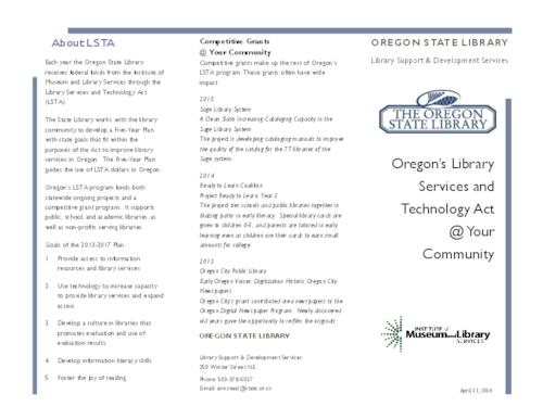 This archived document is maintained by the Oregon State Library as part of the Oregon Documents Depository Program.  It is for informational purposes and may not be suitable for legal purposes., Title from PDF caption (viewed on June 17, 2016)., Mode of access: Internet from the Oregon Government Publications Collection., Text in English.