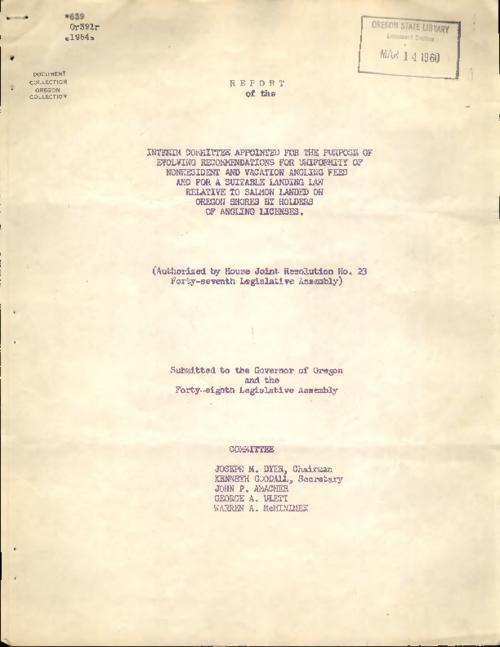 "This archived document is maintained by the Oregon State Library as part of the Oregon Documents Depository Program.  It is for informational purposes and may not be suitable for legal purposes., Title from PDF cover (viewed on June 8, 2016)., ""Authorized by House Joint Resolution no 23, Forty-seventh Legislative Assembly."", Mode of access: Internet from the Oregon Government Publications Collection., Text in English."