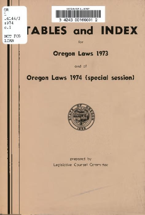 This archived document is maintained by the Oregon State Library as part of the Oregon Documents Depository Program.  It is for informational purposes and may not be suitable for legal purposes., Title from PDF cover (viewed on June 22, 2016)., To be used with the Oregon revised statutes., Mode of access: Internet from the Oregon Government Publications Collection., Text in English.