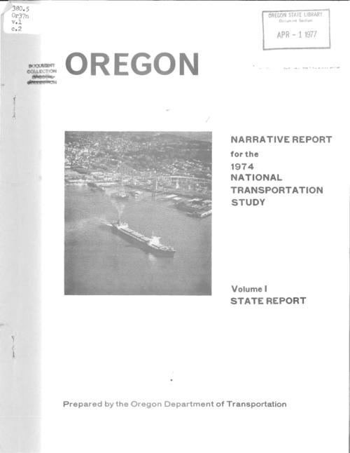 v. 1. State report., This archived document is maintained by the Oregon State Library as part of the Oregon Documents Depository Program.  It is for informational purposes and may not be suitable for legal purposes., Title from PDF title page (viewed on July 29, 2016)., Report prepared for submittal to the U.S. Dept. of Transportation for the 1974 national transportation report, Mode of access: Internet from the Oregon Government Publications Collection., Text in English.