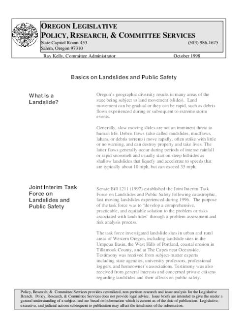 This archived document is maintained by the Oregon State Library as part of the Oregon Documents Depository Program.  It is for informational purposes and may not be suitable for legal purposes., Title from PDF caption (viewed on December 11, 2014), Includes bibliographical references, Mode of access: Internet from the Oregon Government Publications Collection., Text in English