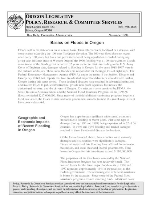 This archived document is maintained by the Oregon State Library as part of the Oregon Documents Depository Program.  It is for informational purposes and may not be suitable for legal purposes., Title from PDF caption (viewed on December 11, 2014), Mode of access: Internet from the Oregon Government Publications Collection., Text in English