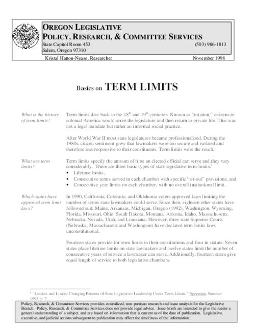 This archived document is maintained by the Oregon State Library as part of the Oregon Documents Depository Program.  It is for informational purposes and may not be suitable for legal purposes., Title from PDF caption (viewed on December 4, 2014), Includes a table of state legislative term limits with the U.S, Includes bibliographical references, Mode of access: Internet from the Oregon Government Publications Collection., Text in English