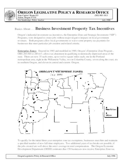 This archived document is maintained by the Oregon State Library as part of the Oregon Documents Depository Program.  It is for informational purposes and may not be suitable for legal purposes., Title from PDF caption (viewed on November 28, 2014), Includes a map showing location of enterprise zones in Oregon as of July 1996, Mode of access: Internet from the Oregon Government Publications Collection., Text in English